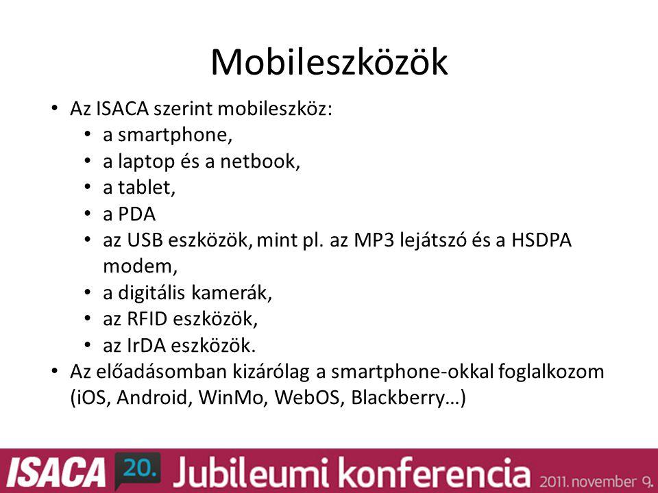 Mobileszközök • Az ISACA szerint mobileszköz: • a smartphone, • a laptop és a netbook, • a tablet, • a PDA • az USB eszközök, mint pl.