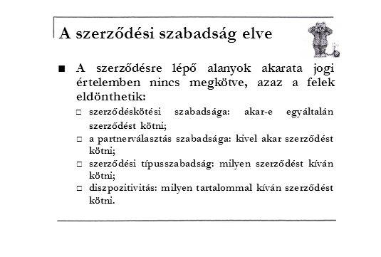 ■A szerződésre lépő alanyok akarata jogi értelemben nincs megkötve, azaz a felek eldönthetik: □szerződéskötési szabadsága: akar-e egyáltalán szerződést kötni; □a partnerválasztás szabadsága: kivel akar szerződést kötni; □szerződési típusszabadság: milyen szerződést kíván kötni; □diszpozitivitás: milyen tartalommal kíván szerződést kötni.
