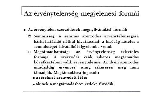 Az érvénytelenség megjelenési formái ■ Az érvénytelen szerződések megnyilvánulási formái: □ Semmisség: a semmis szerződés érvénytelenségére bárki határidő nélkül hivatkozhat; a bíróság köteles a semmisséget hivatalból figyelembe venni.