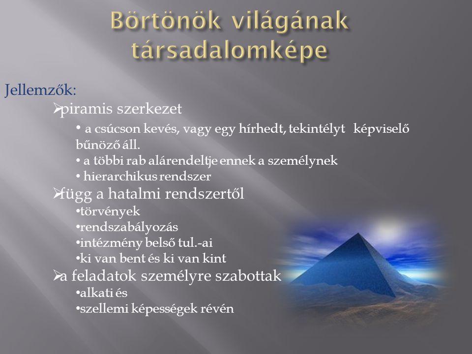 Jellemzők:  piramis szerkezet • a csúcson kevés, vagy egy hírhedt, tekintélyt képviselő bűnöző áll.