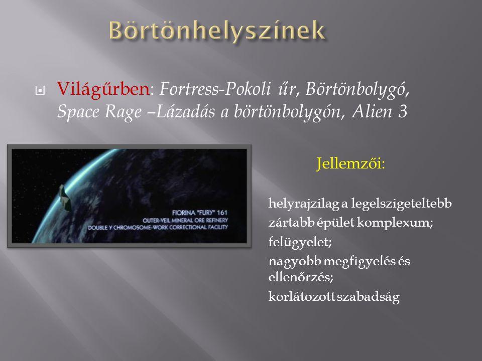  Világűrben: Fortress-Pokoli űr, Börtönbolygó, Space Rage –Lázadás a börtönbolygón, Alien 3 Jellemzői: helyrajzilag a legelszigeteltebb zártabb épület komplexum; felügyelet; nagyobb megfigyelés és ellenőrzés; korlátozott szabadság