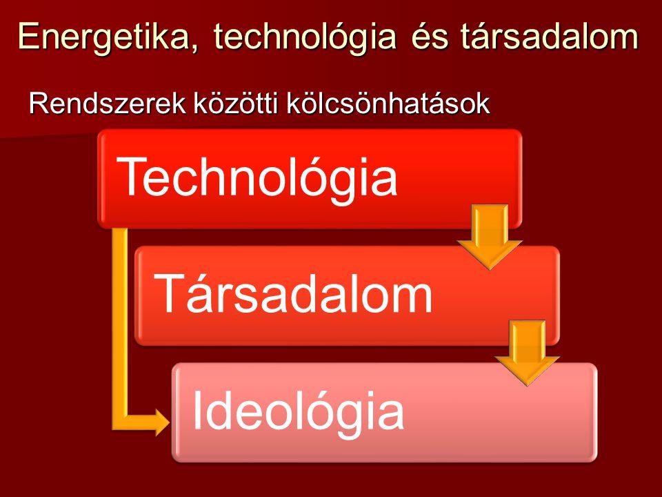 Energetika, technológia és társadalom Rendszerek közötti kölcsönhatások TechnológiaTársadalomIdeológia