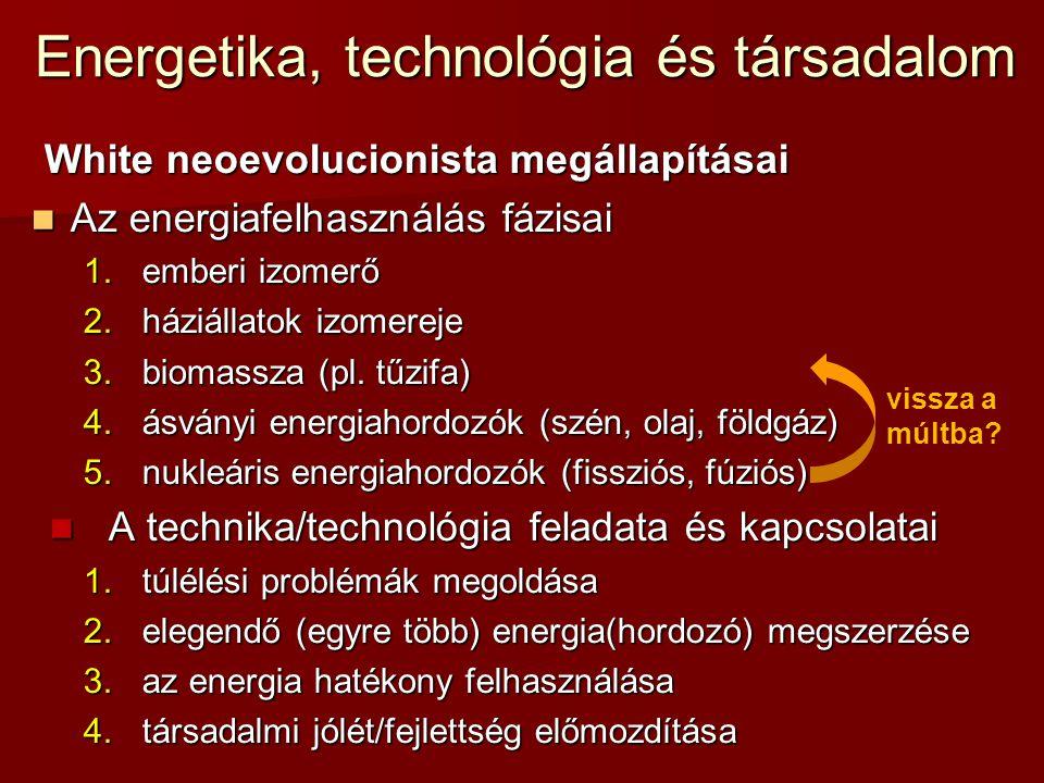 Energetika, technológia és társadalom White neoevolucionista megállapításai  Az energiafelhasználás fázisai 1.emberi izomerő 2.háziállatok izomereje