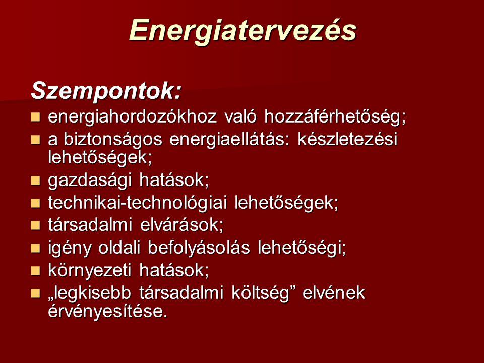 Energiatervezés Szempontok:  energiahordozókhoz való hozzáférhetőség;  a biztonságos energiaellátás: készletezési lehetőségek;  gazdasági hatások;