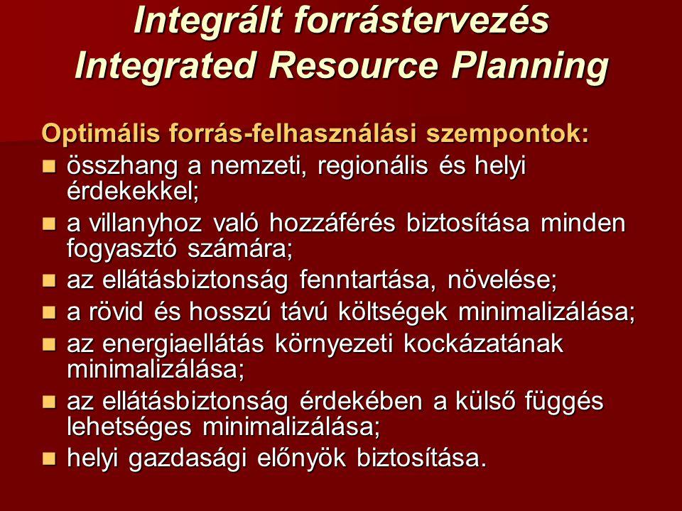 Integrált forrástervezés Integrated Resource Planning Optimális forrás-felhasználási szempontok:  összhang a nemzeti, regionális és helyi érdekekkel;