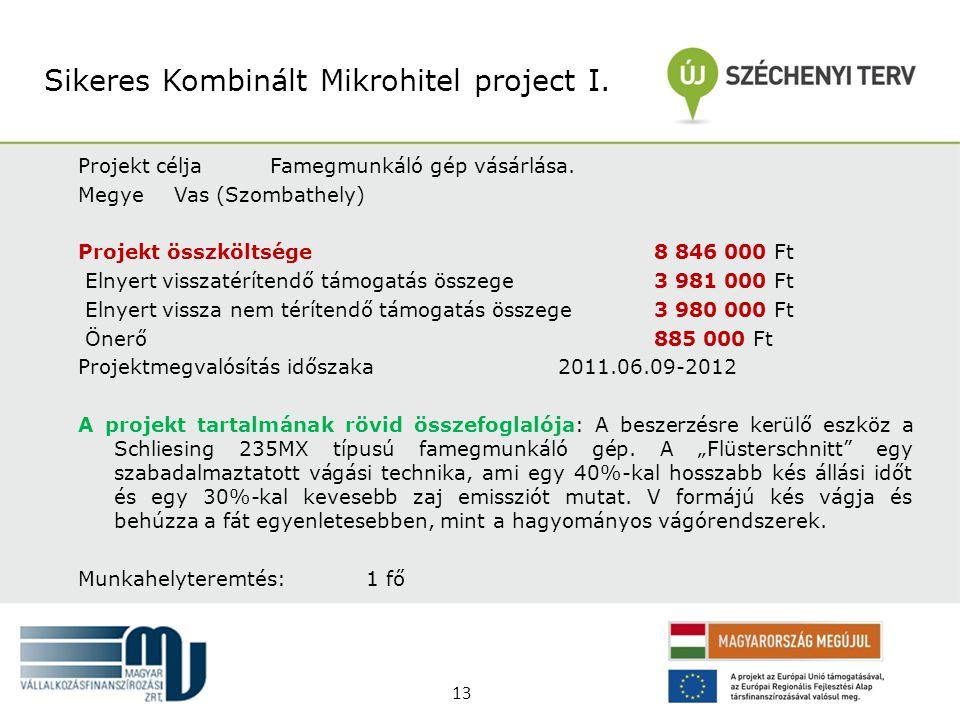 Projekt céljaFamegmunkáló gép vásárlása. MegyeVas (Szombathely) Projekt összköltsége 8 846 000 Ft Elnyert visszatérítendő támogatás összege 3 981 000