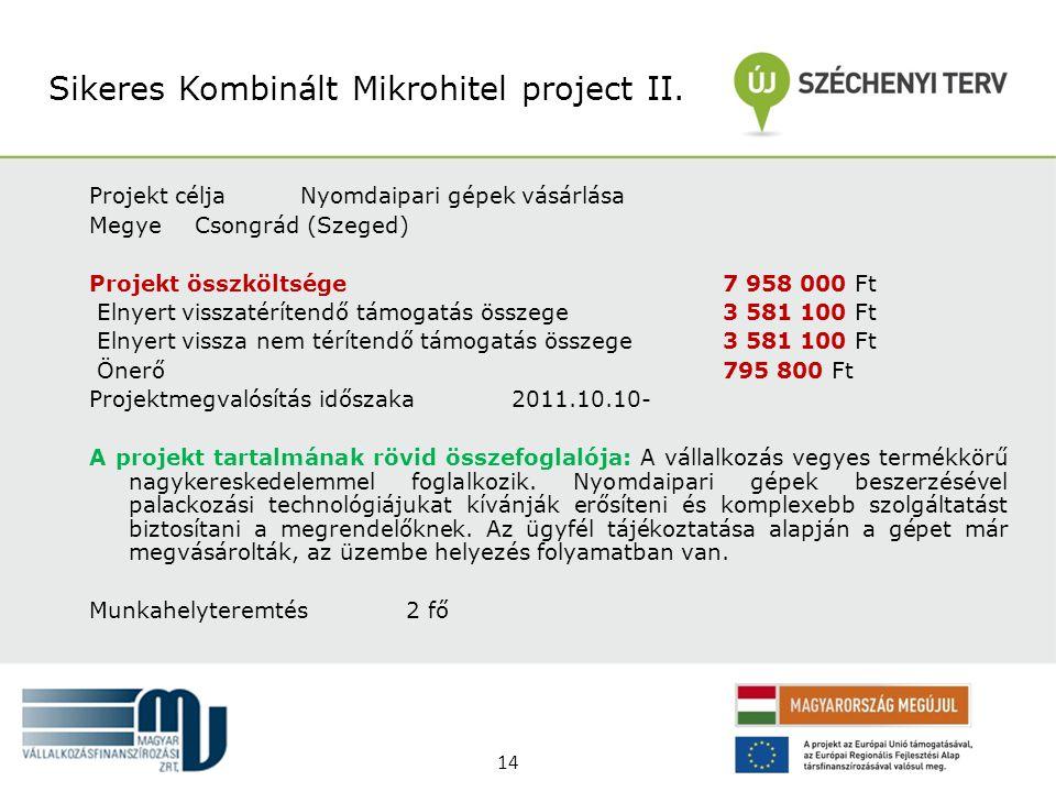 Projekt céljaNyomdaipari gépek vásárlása MegyeCsongrád (Szeged) Projekt összköltsége 7 958 000 Ft Elnyert visszatérítendő támogatás összege 3 581 100