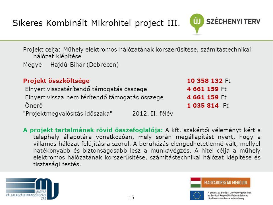 Projekt célja: Műhely elektromos hálózatának korszerűsítése, számítástechnikai hálózat kiépítése MegyeHajdú-Bihar (Debrecen) Projekt összköltsége 10 3