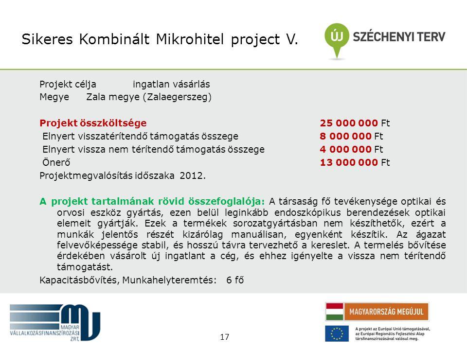 Projekt céljaingatlan vásárlás MegyeZala megye (Zalaegerszeg) Projekt összköltsége 25 000 000 Ft Elnyert visszatérítendő támogatás összege 8 000 000 F