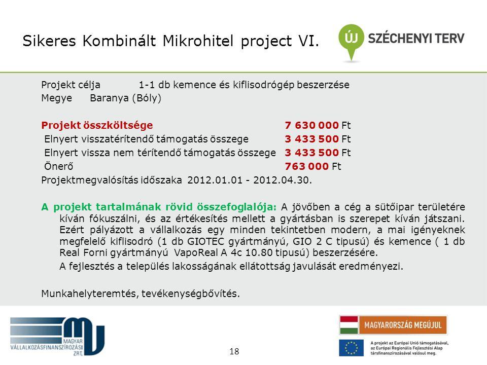 Projekt célja1-1 db kemence és kiflisodrógép beszerzése MegyeBaranya (Bóly) Projekt összköltsége 7 630 000 Ft Elnyert visszatérítendő támogatás összeg