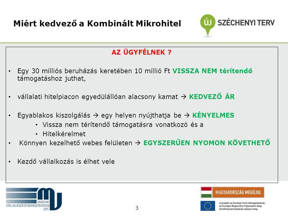 AZ ÜGYFÉLNEK ? • Egy 30 milliós beruházás keretében 10 millió Ft VISSZA NEM térítendő támogatáshoz juthat, • vállalati hitelpiacon egyedülállóan alacs