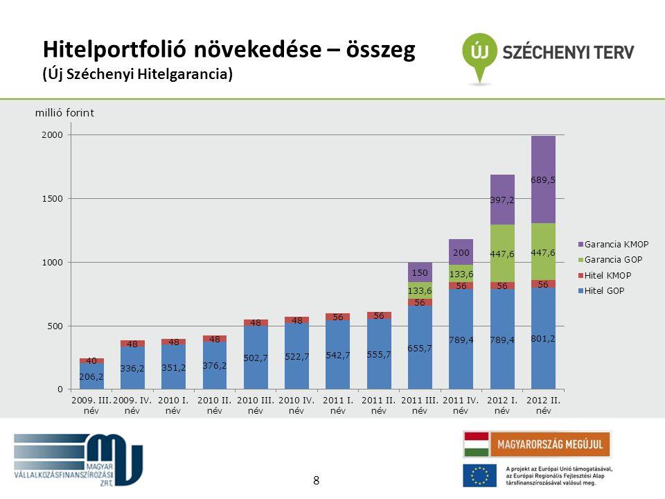 Hitelportfolió növekedése – összeg (Új Széchenyi Hitelgarancia) millió forint 8