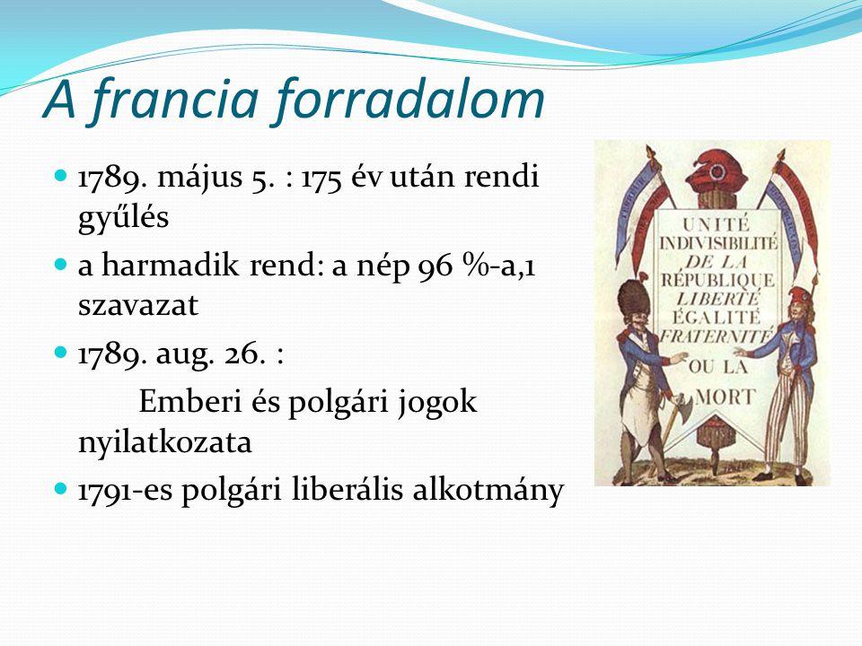 A francia forradalom  1789. május 5. : 175 év után rendi gyűlés  a harmadik rend: a nép 96 %-a,1 szavazat  1789. aug. 26. : Emberi és polgári jogok