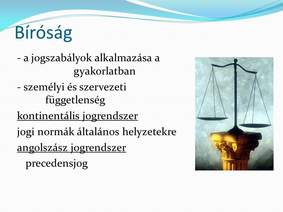 Bíróság - a jogszabályok alkalmazása a gyakorlatban - személyi és szervezeti függetlenség kontinentális jogrendszer jogi normák általános helyzetekre