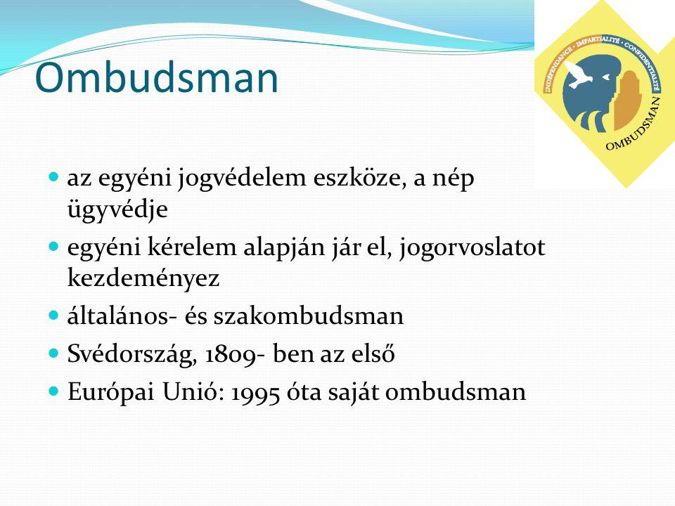 Ombudsman  az egyéni jogvédelem eszköze, a nép ügyvédje  egyéni kérelem alapján jár el, jogorvoslatot kezdeményez  általános- és szakombudsman  Sv