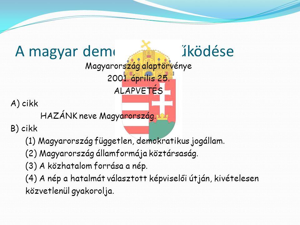 A magyar demokrácia működése Magyarország alaptörvénye 2001. április 25. ALAPVETÉS A) cikk HAZÁNK neve Magyarország. B) cikk (1) Magyarország függetle
