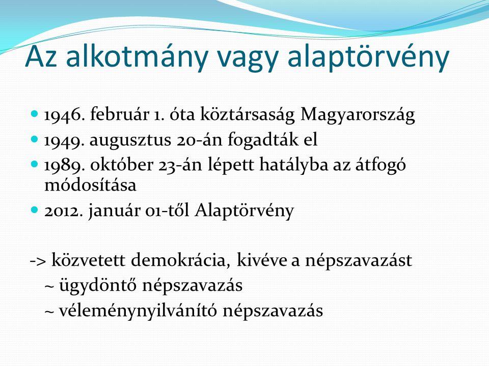 Az alkotmány vagy alaptörvény  1946. február 1. óta köztársaság Magyarország  1949. augusztus 20-án fogadták el  1989. október 23-án lépett hatályb