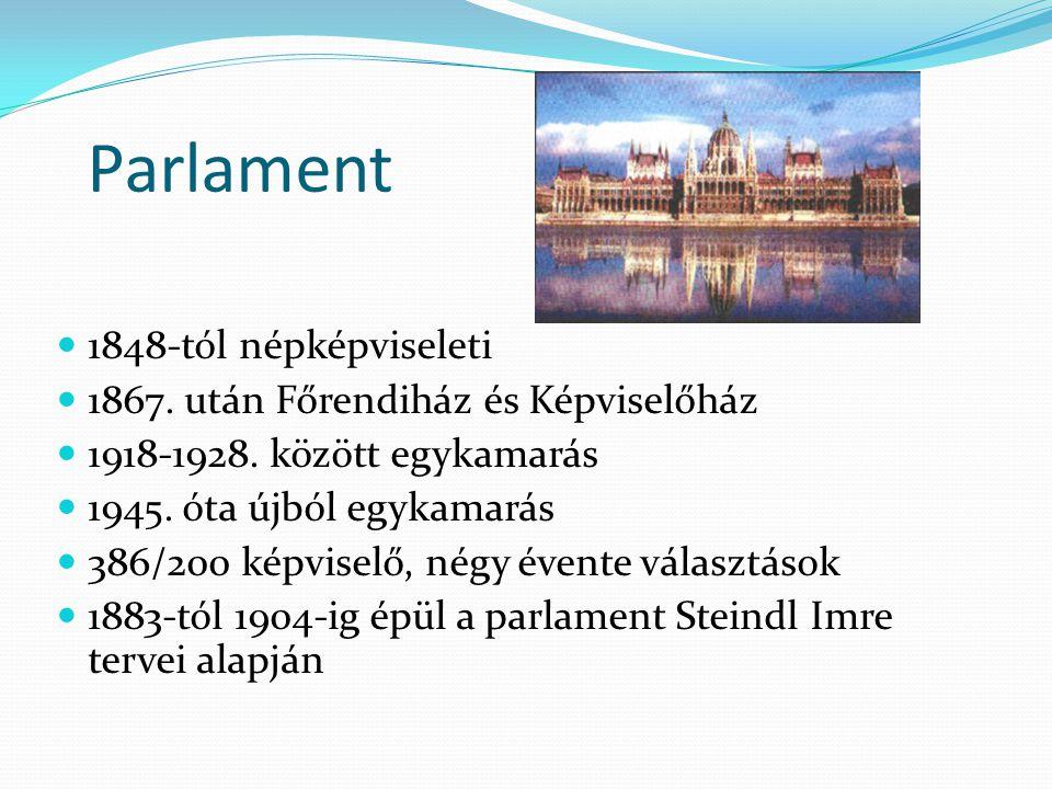 Parlament  1848-tól népképviseleti  1867. után Főrendiház és Képviselőház  1918-1928. között egykamarás  1945. óta újból egykamarás  386/200 képv
