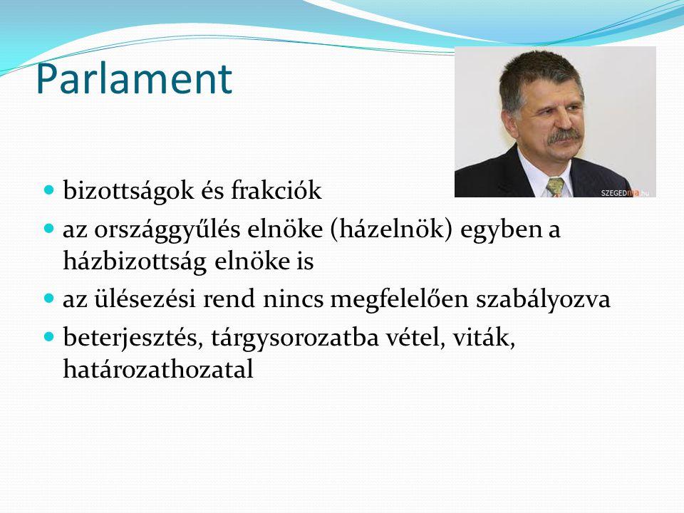 Parlament  bizottságok és frakciók  az országgyűlés elnöke (házelnök) egyben a házbizottság elnöke is  az ülésezési rend nincs megfelelően szabályo