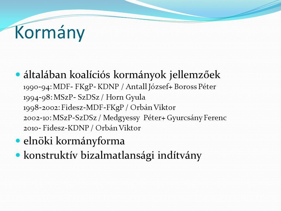 Kormány  általában koalíciós kormányok jellemzőek 19 90-94: MDF- FKgP- KDNP / Antall József+ Boross Péter 1994-98: MSzP- SzDSz / Horn Gyula 1998-2002