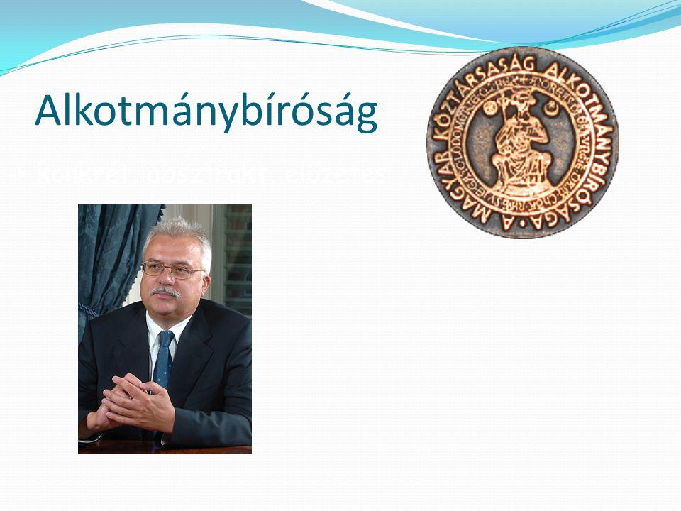 Alkotmánybíróság -> konkrét, absztrakt, előzetes normakontroll