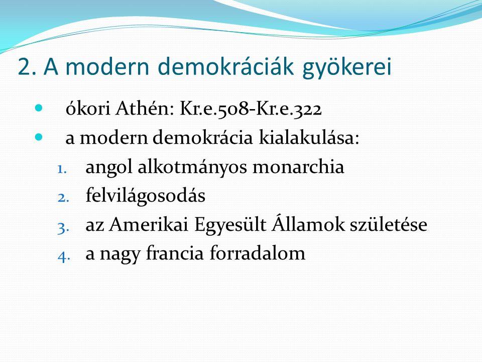 2. A modern demokráciák gyökerei  ókori Athén: Kr.e.508-Kr.e.322  a modern demokrácia kialakulása: 1. angol alkotmányos monarchia 2. felvilágosodás