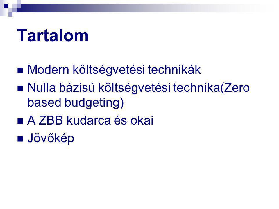 Tartalom  Modern költségvetési technikák  Nulla bázisú költségvetési technika(Zero based budgeting)  A ZBB kudarca és okai  Jövőkép