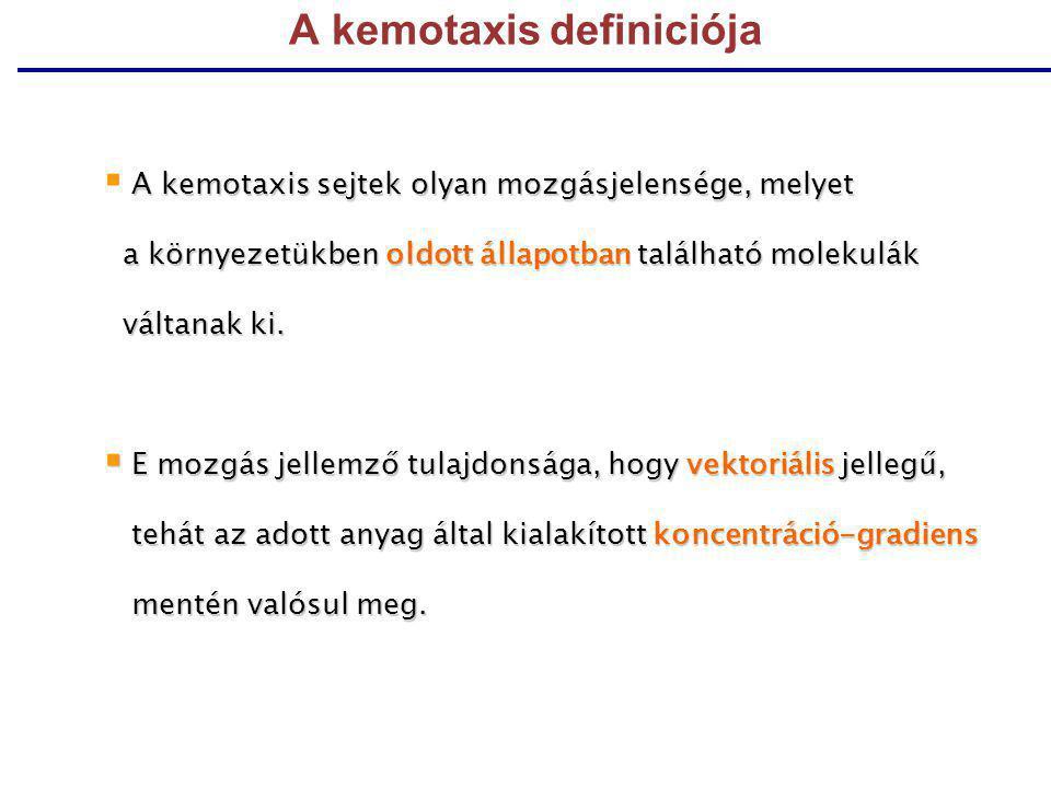 A kemotaxis definiciója A kemotaxis sejtek olyan mozgásjelensége, melyet  A kemotaxis sejtek olyan mozgásjelensége, melyet a környezetükben oldott ál