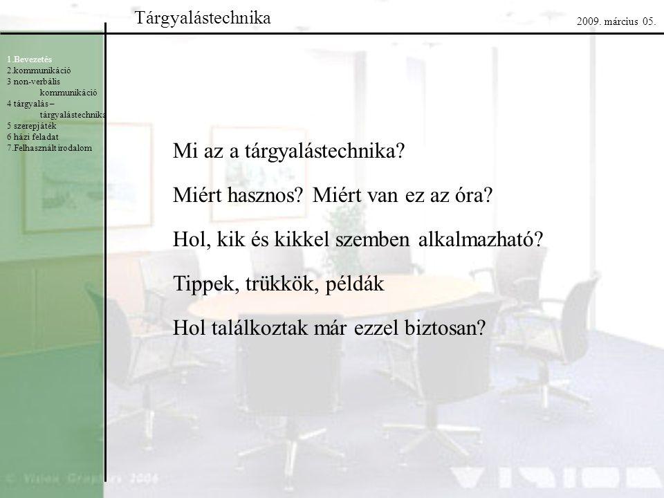Tárgyalástechnika 2009. március 05. 1.Bevezetés 2.kommunikáció 3 non-verbális kommunikáció 4 tárgyalás – tárgyalástechnika 5 szerepjáték 6 házi felada