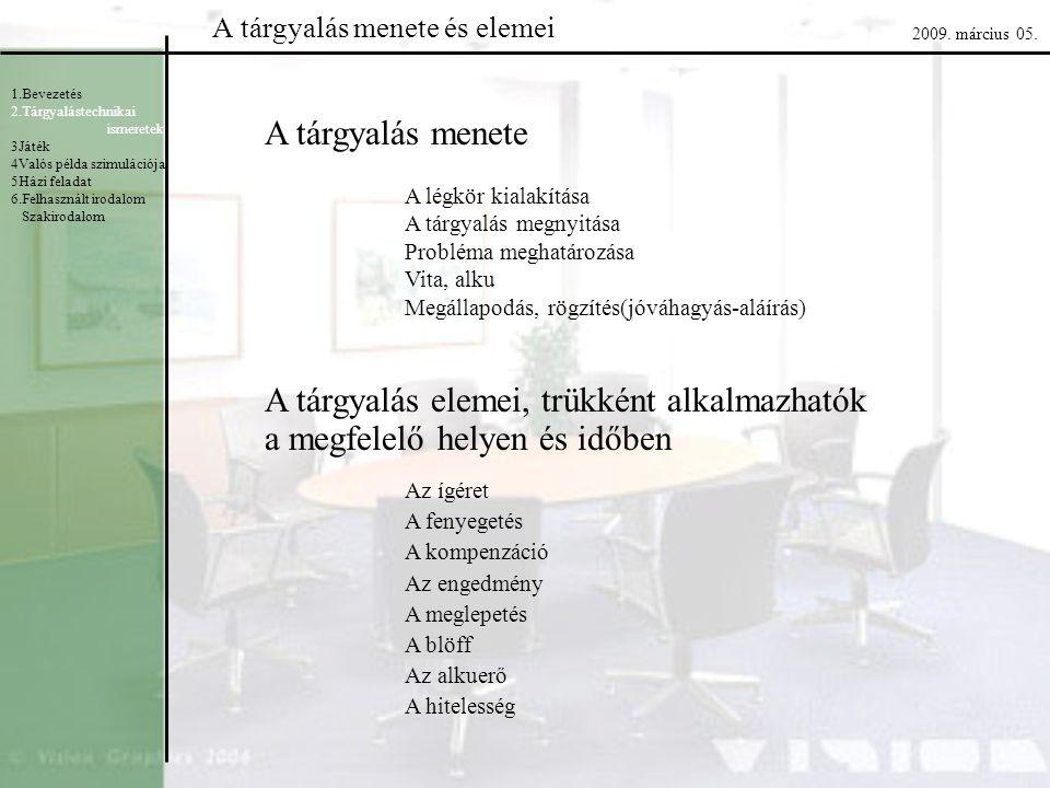 A tárgyalás menete és elemei 1.Bevezetés 2.Tárgyalástechnikai ismeretek 3Játék 4Valós példa szimulációja 5Házi feladat 6.Felhasznált irodalom Szakirod