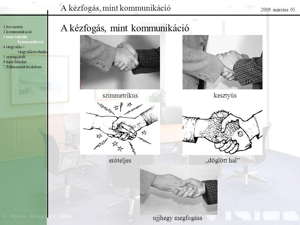 """A kézfogás, mint kommunikáció szimmetrikuskesztyűs erőteljes""""döglött hal"""" ujjhegy megfogása 1.bevezetés 2.kommunikáció 3 non-verbális kommunikáció 4 t"""