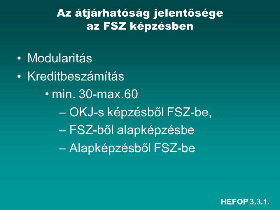 HEFOP 3.3.1. Az átjárhatóság jelentősége az FSZ képzésben •Modularitás •Kreditbeszámítás •min.