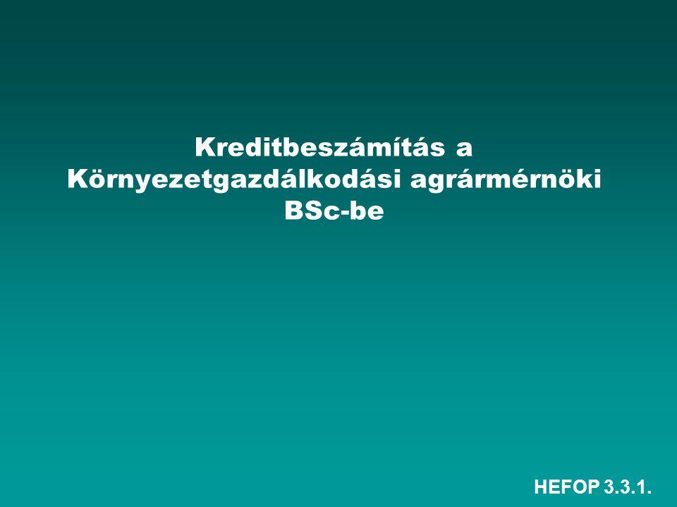 HEFOP 3.3.1. Kreditbeszámítás a Környezetgazdálkodási agrármérnöki BSc-be
