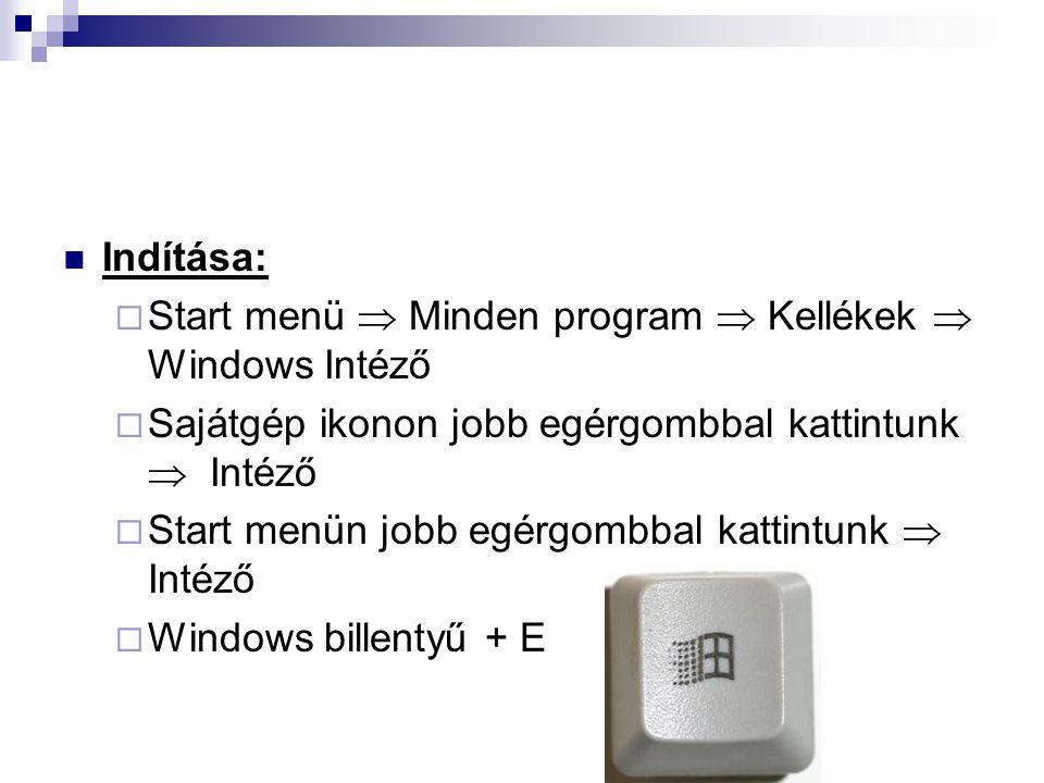  Indítása:  Start menü  Minden program  Kellékek  Windows Intéző  Sajátgép ikonon jobb egérgombbal kattintunk  Intéző  Start menün jobb egérgo