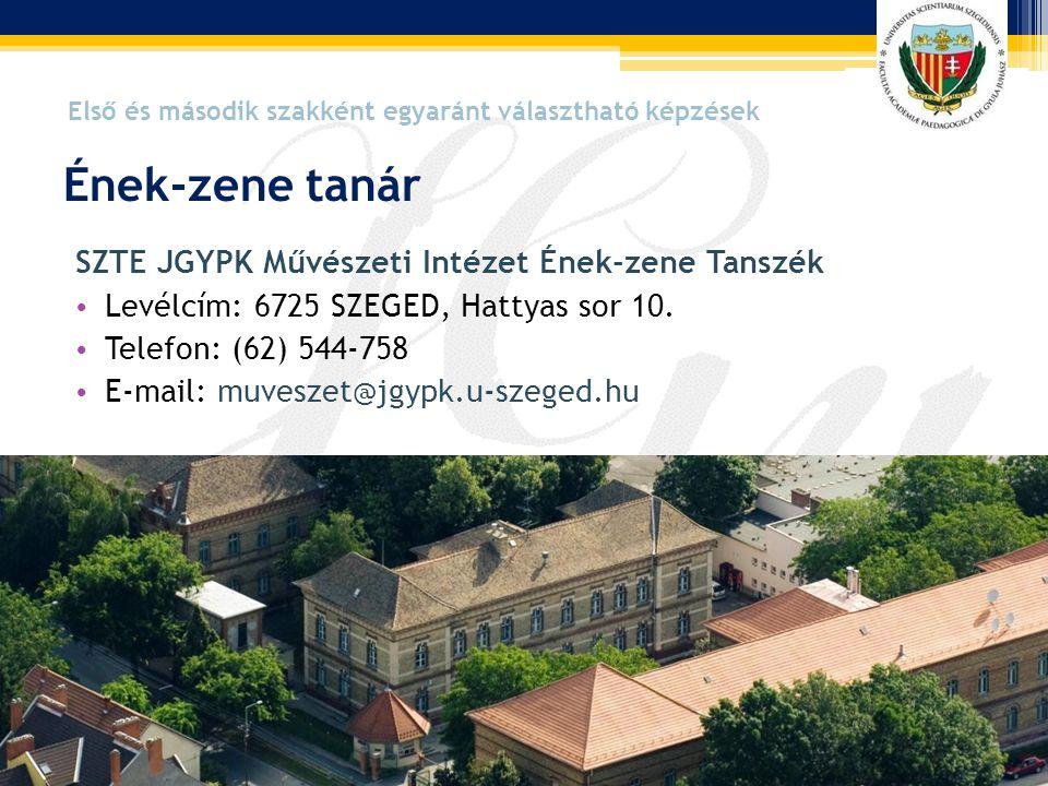 SZTE JGYPK Művészeti Intézet Ének-zene Tanszék • Levélcím: 6725 SZEGED, Hattyas sor 10. • Telefon: (62) 544-758 • E-mail: muveszet@jgypk.u-szeged.hu É