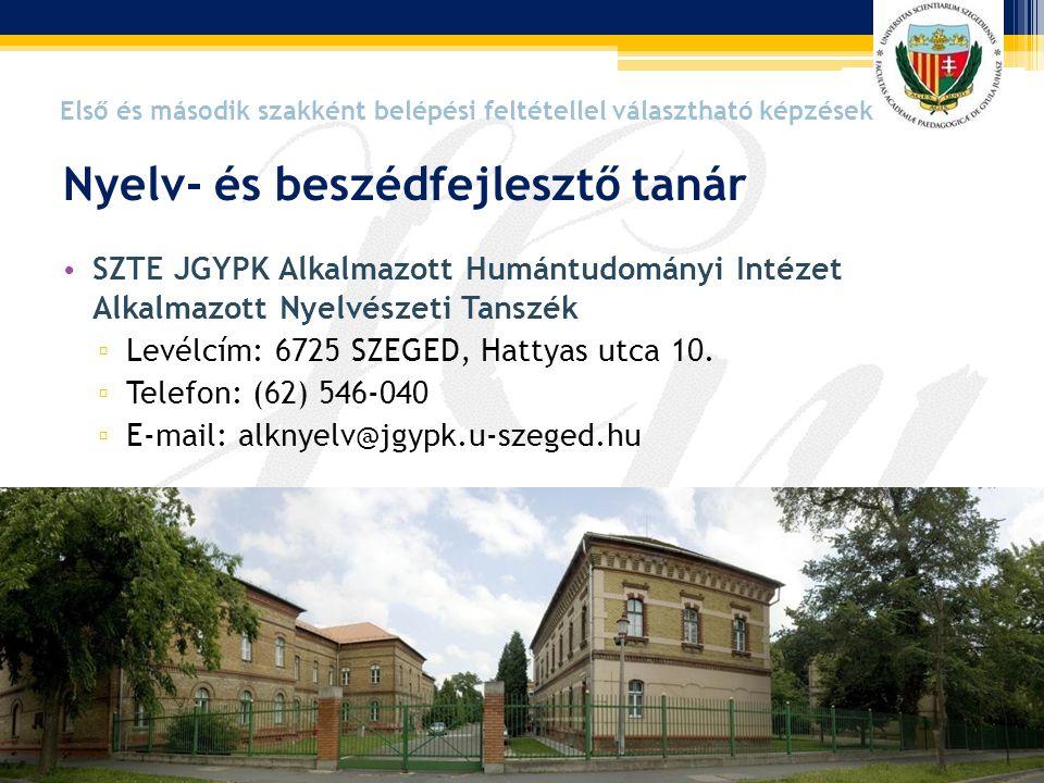 Nyelv- és beszédfejlesztő tanár • SZTE JGYPK Alkalmazott Humántudományi Intézet Alkalmazott Nyelvészeti Tanszék ▫ Levélcím: 6725 SZEGED, Hattyas utca