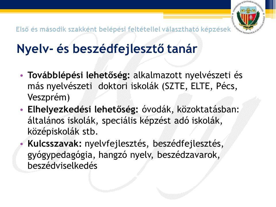 • Továbblépési lehetőség: alkalmazott nyelvészeti és más nyelvészeti doktori iskolák (SZTE, ELTE, Pécs, Veszprém) • Elhelyezkedési lehetőség: óvodák,