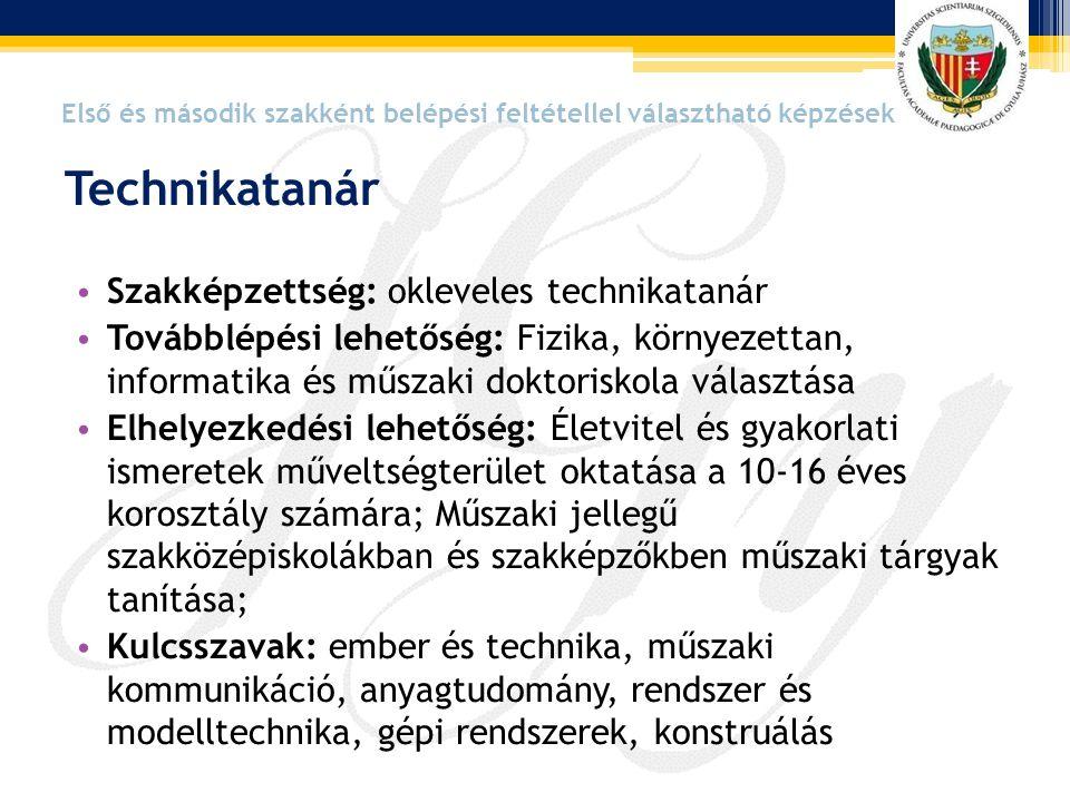 • Szakképzettség: okleveles technikatanár • Továbblépési lehetőség: Fizika, környezettan, informatika és műszaki doktoriskola választása • Elhelyezked