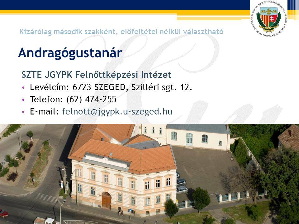SZTE JGYPK Felnőttképzési Intézet • Levélcím: 6723 SZEGED, Szilléri sgt. 12. • Telefon: (62) 474-255 • E-mail: felnott@jgypk.u-szeged.hu Andragógustan