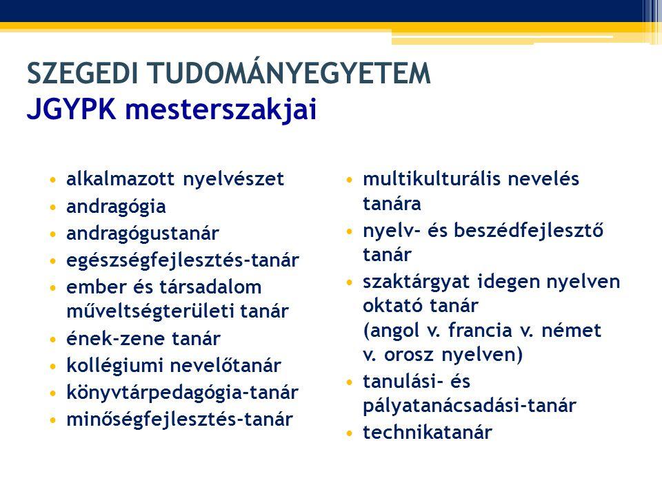 • Továbblépési lehetőség: alkalmazott nyelvészeti és más nyelvészeti doktori iskolák (SZTE, ELTE, Pécs, Veszprém) • Elhelyezkedési lehetőség: közoktatásban, egyéb oktatási intézményekben • Kulcsszavak: szakmai nyelv, tannyelv, pedagógiai kommunikáció, szakmódszertan, interkulturális kommunikáció • További információ: szaktárgyon a közoktatásban megtalálható, közismereti, szakmai, művészeti és testkulturális tanári szakok, illetve szakképzettségek értendők, idegen nyelven az adott idegen nyelv, beleértve a nemzeti és etnikai kisebbségek nyelveit is.