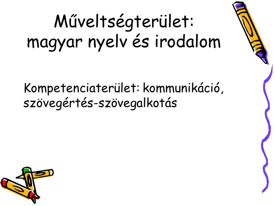 Műveltségterület: magyar nyelv és irodalom Kompetenciaterület: kommunikáció, szövegértés-szövegalkotás