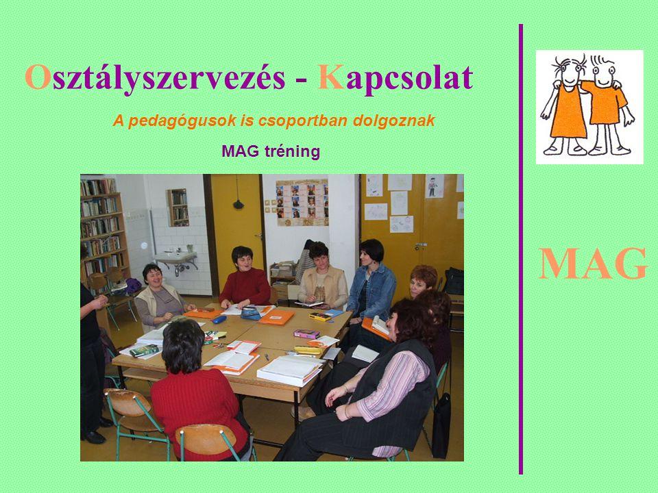 MAG Osztályszervezés - Kapcsolat A pedagógusok is csoportban dolgoznak MAG tréning