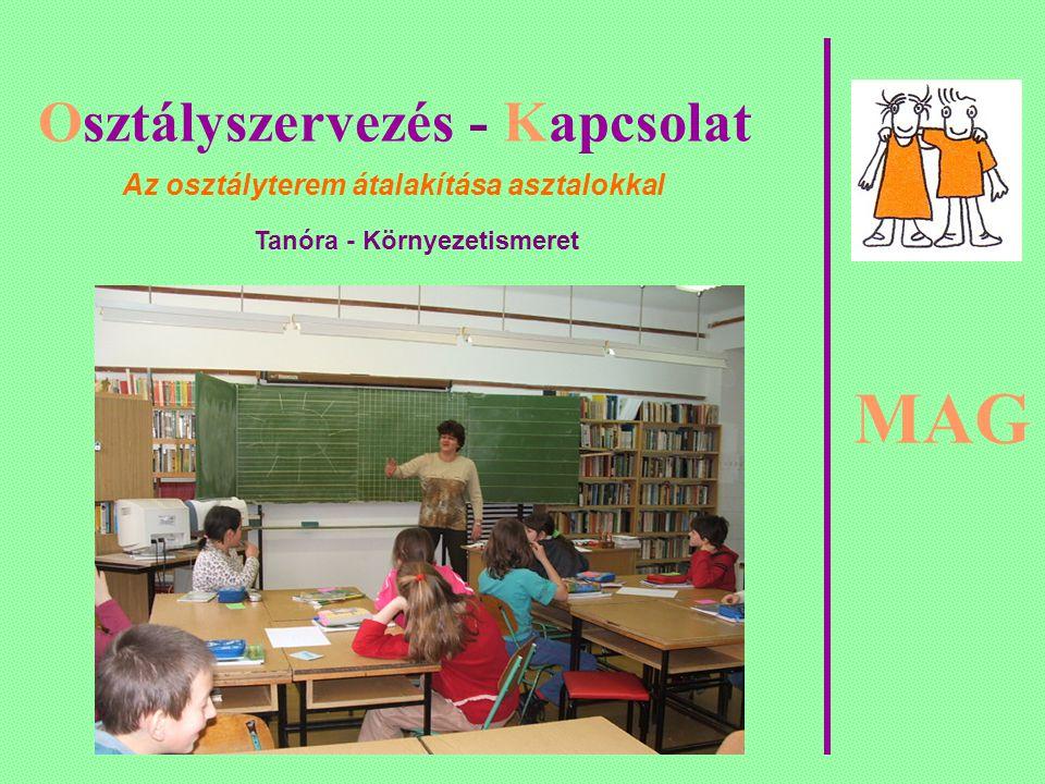 MAG Osztályszervezés - Kapcsolat Az osztályterem átalakítása asztalokkal Tanóra - Környezetismeret