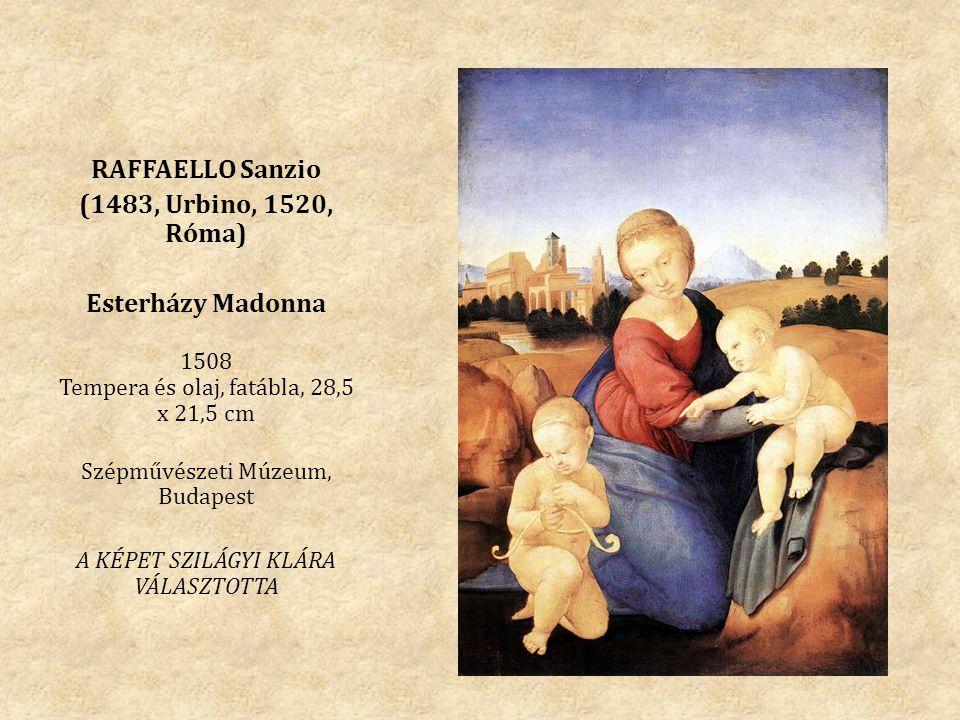 RAFFAELLO Sanzio (1483, Urbino, 1520, Róma) Esterházy Madonna 1508 Tempera és olaj, fatábla, 28,5 x 21,5 cm Szépművészeti Múzeum, Budapest A KÉPET SZILÁGYI KLÁRA VÁLASZTOTTA