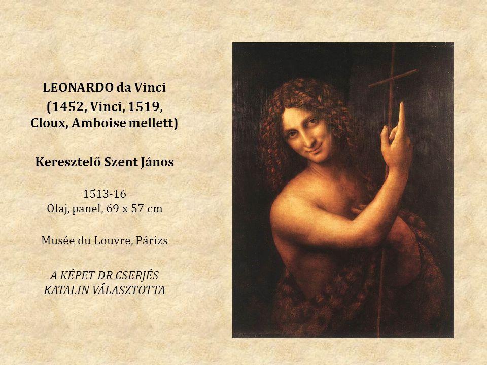LEONARDO da Vinci (1452, Vinci, 1519, Cloux, Amboise mellett) Keresztelő Szent János 1513-16 Olaj, panel, 69 x 57 cm Musée du Louvre, Párizs A KÉPET DR CSERJÉS KATALIN VÁLASZTOTTA