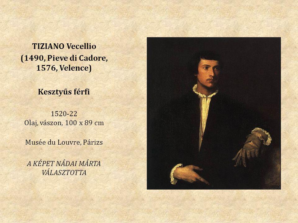 TIZIANO Vecellio (1490, Pieve di Cadore, 1576, Velence) Kesztyűs férfi 1520-22 Olaj, vászon, 100 x 89 cm Musée du Louvre, Párizs A KÉPET NÁDAI MÁRTA VÁLASZTOTTA