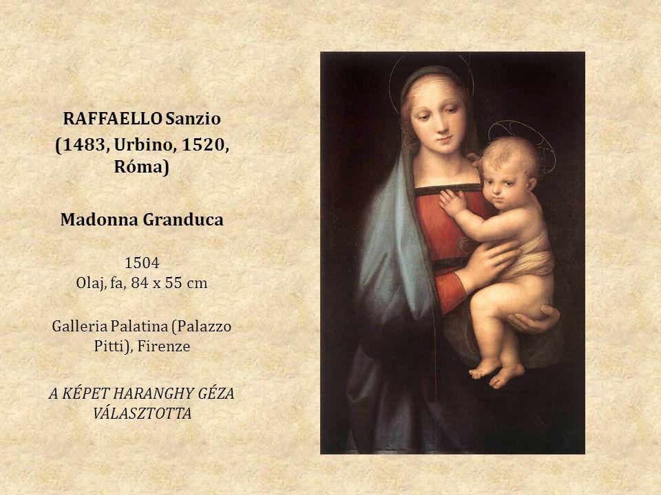 RAFFAELLO Sanzio (1483, Urbino, 1520, Róma) Madonna Granduca 1504 Olaj, fa, 84 x 55 cm Galleria Palatina (Palazzo Pitti), Firenze A KÉPET HARANGHY GÉZA VÁLASZTOTTA