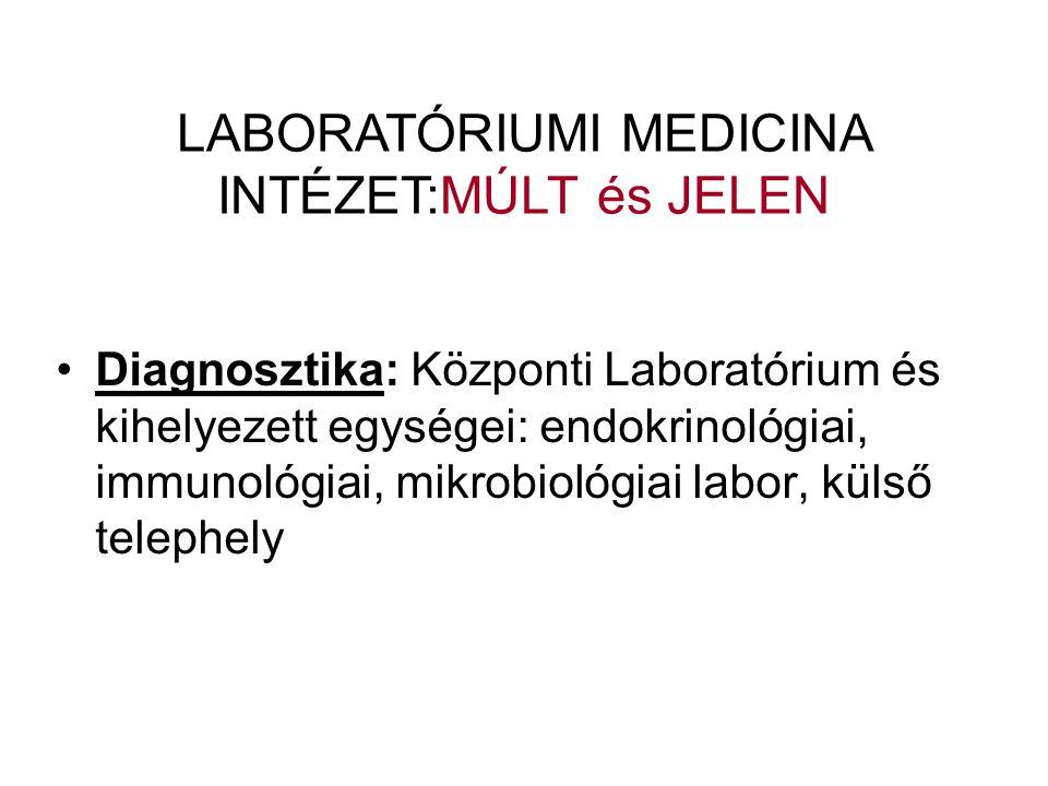 •Diagnosztika: Központi Laboratórium és kihelyezett egységei: endokrinológiai, immunológiai, mikrobiológiai labor, külső telephely LABORATÓRIUMI MEDICINA INTÉZET:MÚLT és JELEN