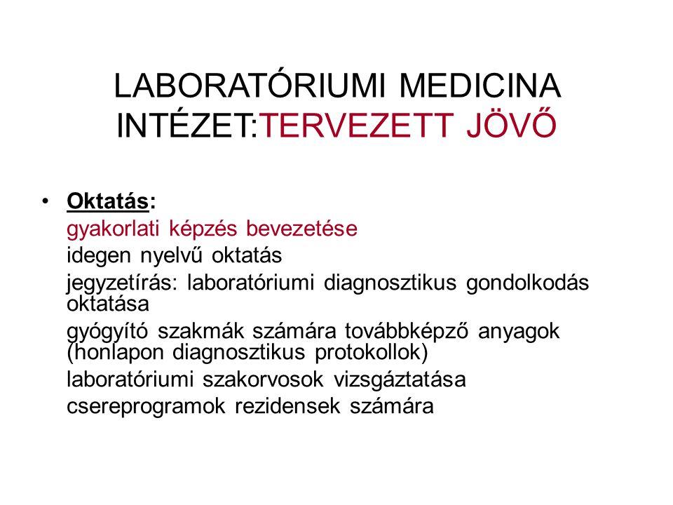 •Oktatás: gyakorlati képzés bevezetése idegen nyelvű oktatás jegyzetírás: laboratóriumi diagnosztikus gondolkodás oktatása gyógyító szakmák számára továbbképző anyagok (honlapon diagnosztikus protokollok) laboratóriumi szakorvosok vizsgáztatása csereprogramok rezidensek számára LABORATÓRIUMI MEDICINA INTÉZET:TERVEZETT JÖVŐ