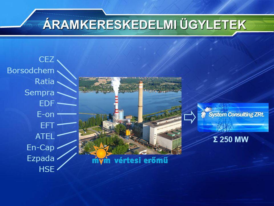 ÁRAMKERESKEDELMI ÜGYLETEK ÁRAMKERESKEDELMI ÜGYLETEK CEZ Borsodchem Ratia Sempra EDF E-on EFT ATEL En-Cap Ezpada HSE Σ 250 MW